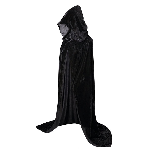 VGLOOK Kids Hooded Cloak Cape for Christmas Halloween Cosplay Costumes Ages 5 to 7 Black
